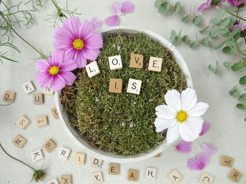 Schale mit Moos und Blüten sowie Worten Love is