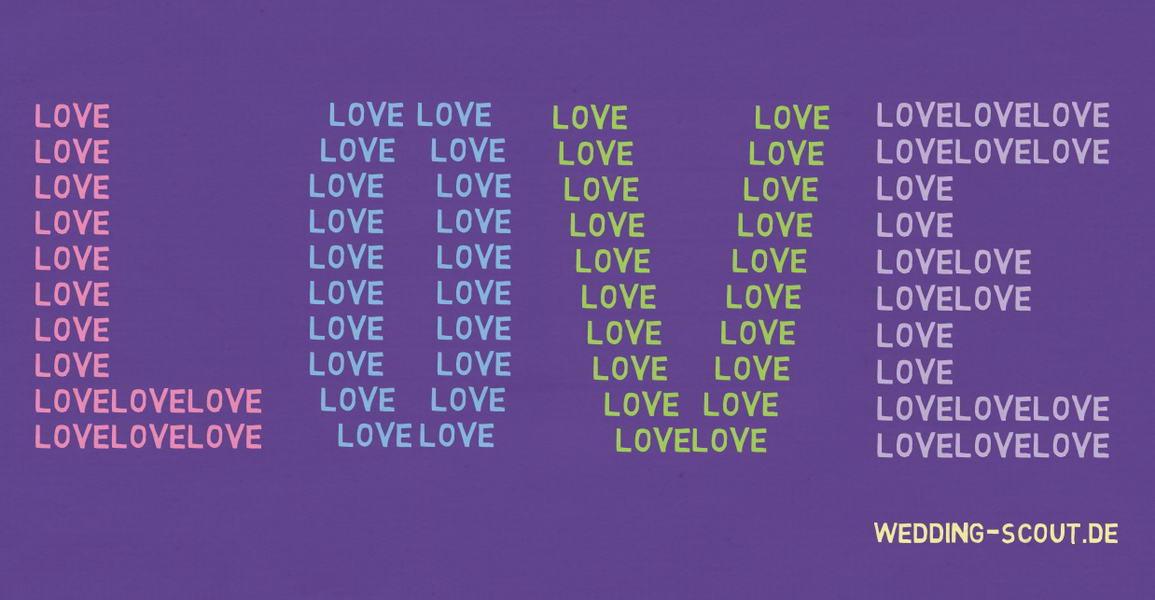 Druckvorlage mit dem Wort Love