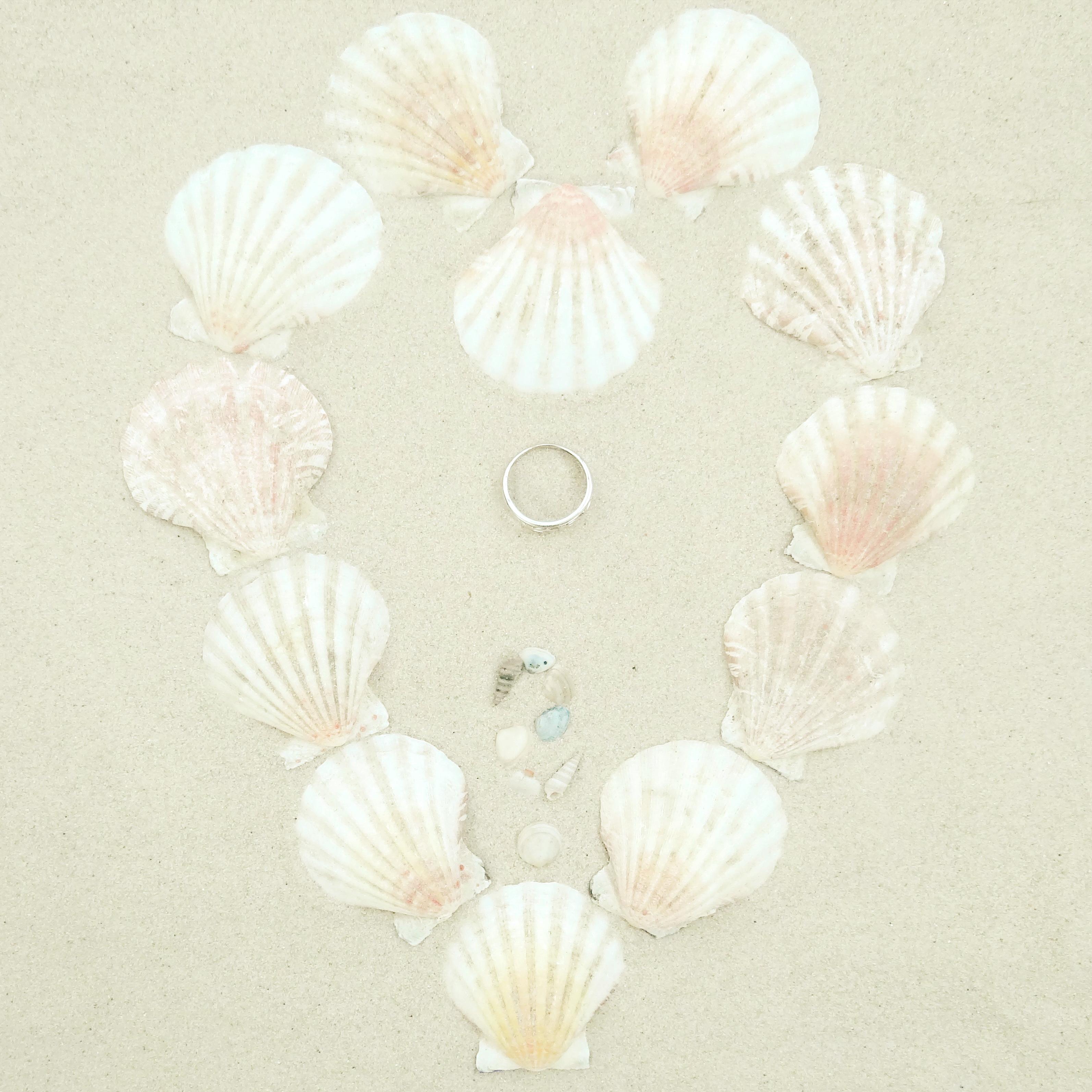 Herz aus Muscheln im Sand