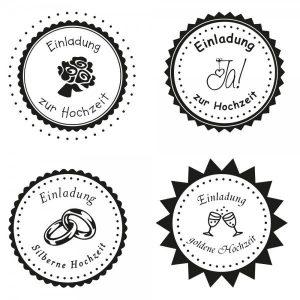 Hochzeitsstempel - Einladung rund (Ø 50 mm)