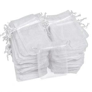 100 Organzasäckchen, 15x11,5cm, VBS Großhandelspackungg - Weiß