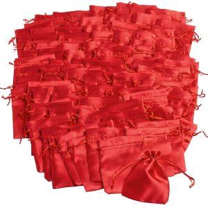 100 Satinbeutel, rot, VBS Großhandelspackung