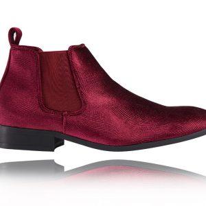 Corduroy Red Chelsea Boots - Lureaux - Handgemachte Designer Schuhe