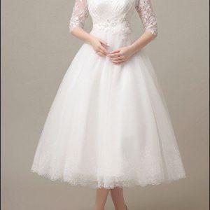 50er Jahre Brautkleid mit Spitzenärmeln