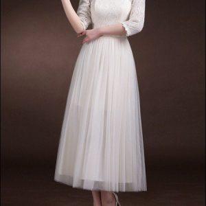 60er Jahre Brautkleid mit 3/4 Ärmeln
