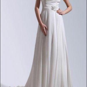 Brautkleid aus Chiffon mit Knopfleiste und Schleppe