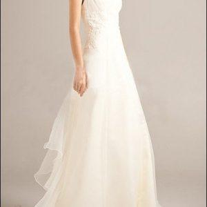 Brautkleid aus Organza mit V-Ausschnitt und Trägern