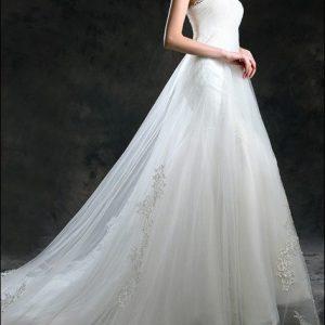 Empire Brautkleid mit Spitze und Schleppe