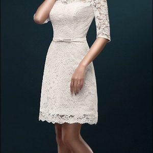 Etui-Brautkleid für Standesamt mit Ärmeln