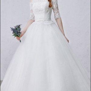Prinzessin Brautkleid mit 3/4 Ärmel und Spitze